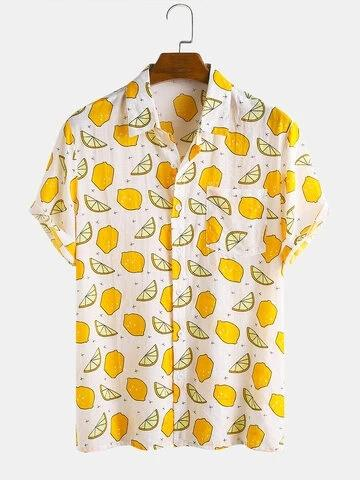 Mens Cotton Holiday Fruit Lemon Overall Printed Casual Short Sleeve Shirt