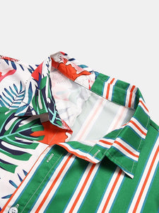 Men Tropical Print Striped Patchwork Casual Holiday Curved Hem Shirt