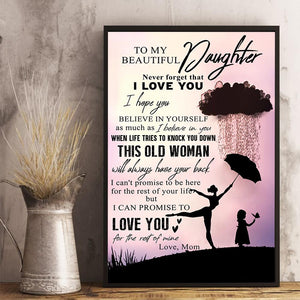Mom to Daughter - This Old Woman Will Always Have Your Back - Vertical Matte Posters