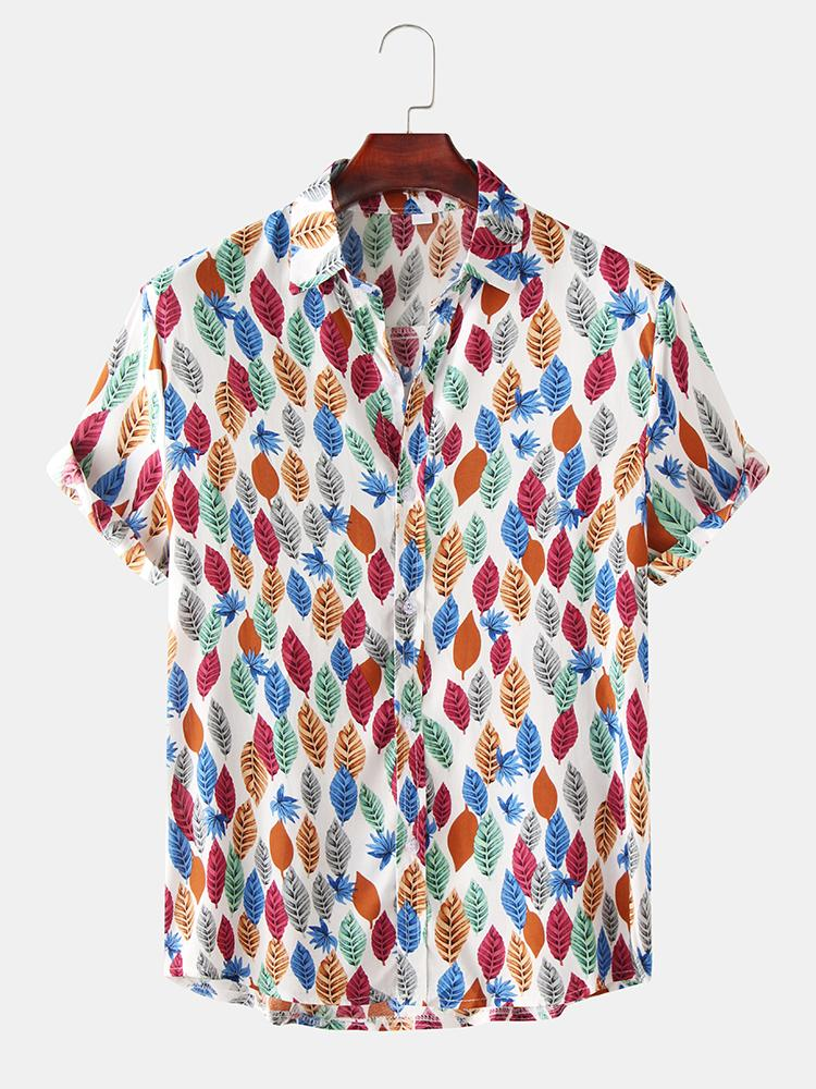 Mens Funny Allover Leaves Print Button Up Short Sleeve Shirts