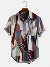 Cargar imagen en el visor de la galería, Mens Casual Colorful Breathable Color Block Short Sleeve Shirts