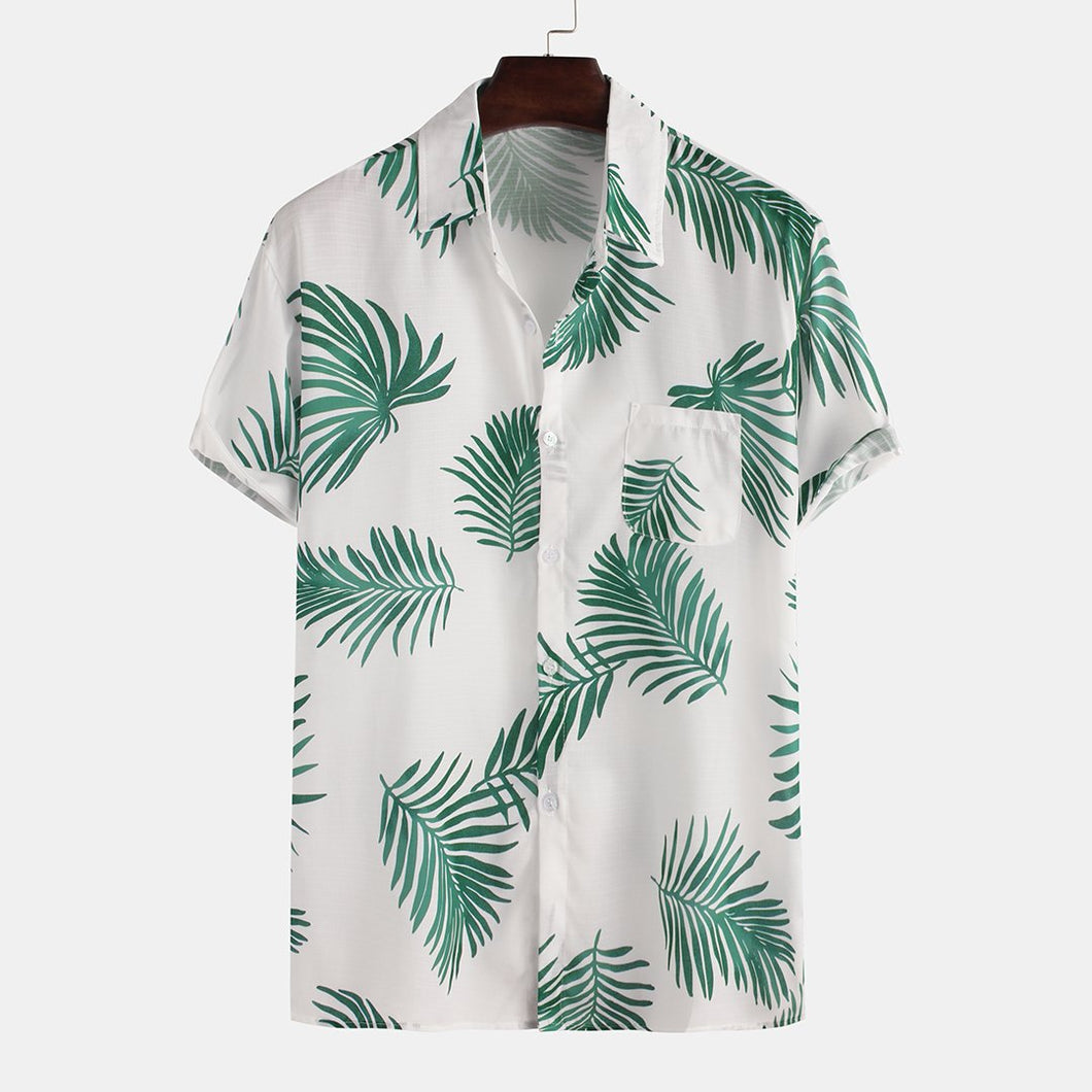 Mens Brief Style Coco Leaf Breathable Short Sleeve Shirts