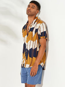 Mens Abstract Contrast Colorblock Chest Pocket Short Sleeve Shirts