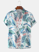 Cargar imagen en el visor de la galería, Mens Tropical Plants Cartoon Printed Beach Breathable Short Sleeve Shirts