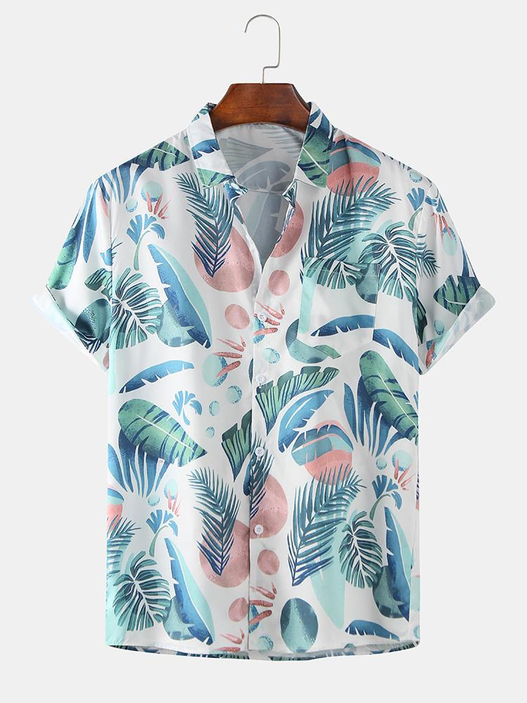 Mens Tropical Plants Cartoon Printed Beach Breathable Short Sleeve Shirts