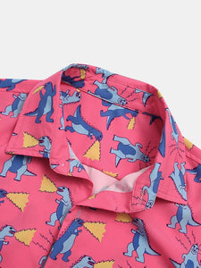 Mens Funny Little Dinosaur Cartoon Square Pocket Short Sleeve Shirts