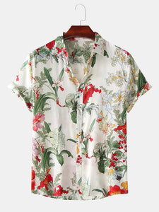 Mens Casual Hawaiian Floral Print Button Up Summer Short Sleeve Shirts