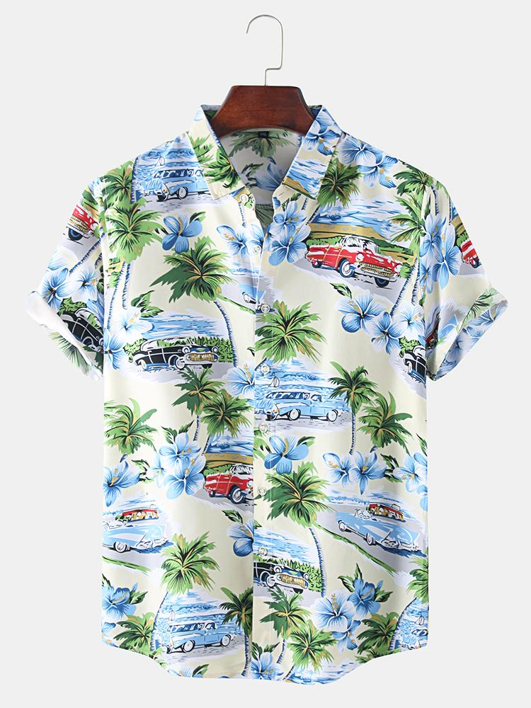 Mens Cartoon Coconut Tree Beach Print Hawaiian Leisure Holiday Lapel Shirt