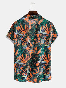 Mens Holiday Butterfly Leaf Printed Lapel Collar Short Sleeve Shirt