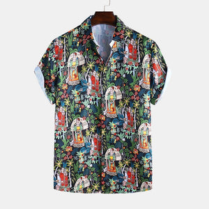Mens Summer Ethnic Style Character Printed Short Sleeve Lapel Flower Shirt