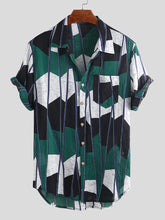 Cargar imagen en el visor de la galería, Mens Abstract Contrast Colorblock Chest Pocket Short Sleeve Shirts