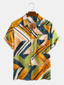 Men Geometric Color Block Contrast Beach Vacation Casual Shirt
