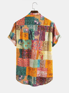 Men Cotton Ethnic Totem Printed Casual Holiday Shirt