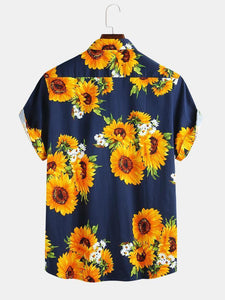 Mens Sunflower Oil Painting With Chest Pocket Short Sleeve Shirts