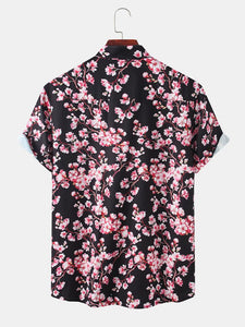 Men Sakura Print Holiday Casual Shirt