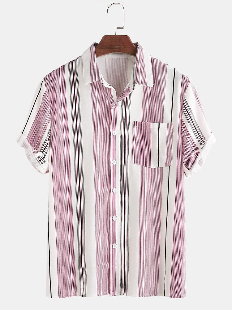 Mens Cotton Vertical Stripe Holiday Casual Short Sleeve Shirt