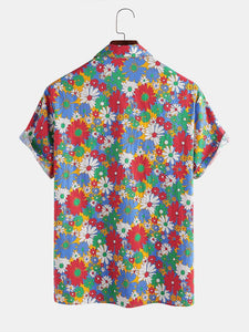 100% Cotton Colorful Daisy Printed Lapel Casual Holiday  Shirt For Men Women