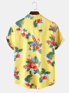 Mens Cartoon Beach Print Leisure Holiday Hawaiian Lapel Short Sleeve Shirt