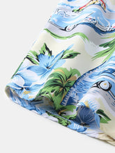 Cargar imagen en el visor de la galería, Mens Cartoon Coconut Tree Beach Print Hawaiian Leisure Holiday Lapel Shirt