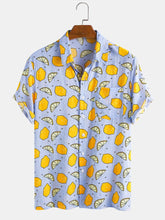 Cargar imagen en el visor de la galería, Mens Cotton Holiday Fruit Lemon Overall Printed Casual Short Sleeve Shirt