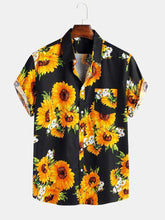 Cargar imagen en el visor de la galería, Mens Sunflower Oil Painting With Chest Pocket Short Sleeve Shirts