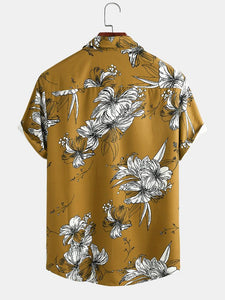 Men Vintage Floral Printed Holiday Casual Shirt