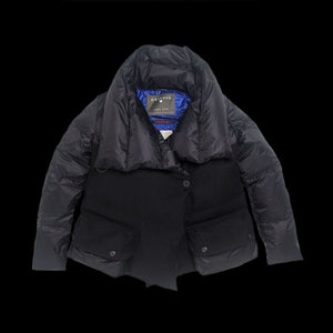 Short Down Coat - Black Harris Tweed