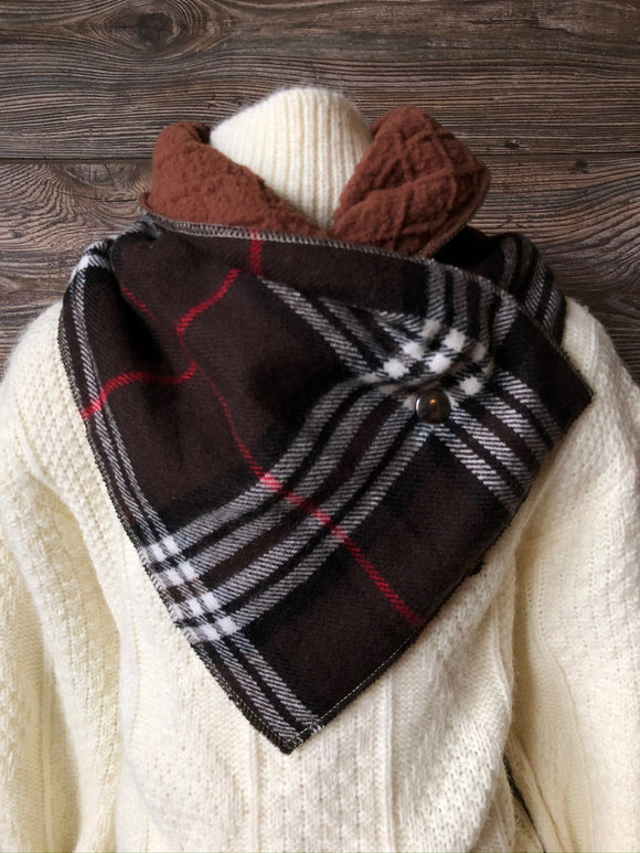 KIDS Brown Plaid Neckwarmer