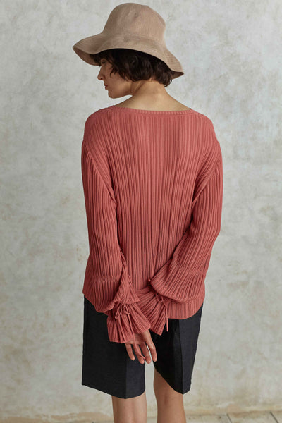Grapefruit Blouson Sleeve Knit