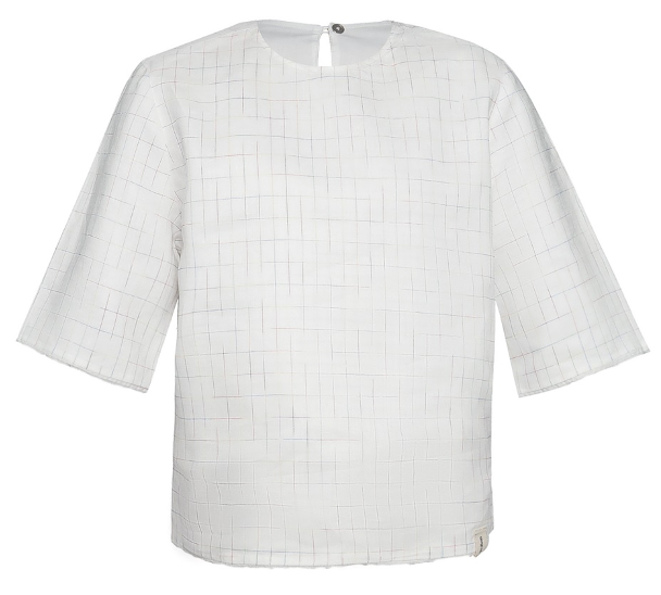 Reversible Frayed Edges Crew Shirt Rainbow Checkered Linen