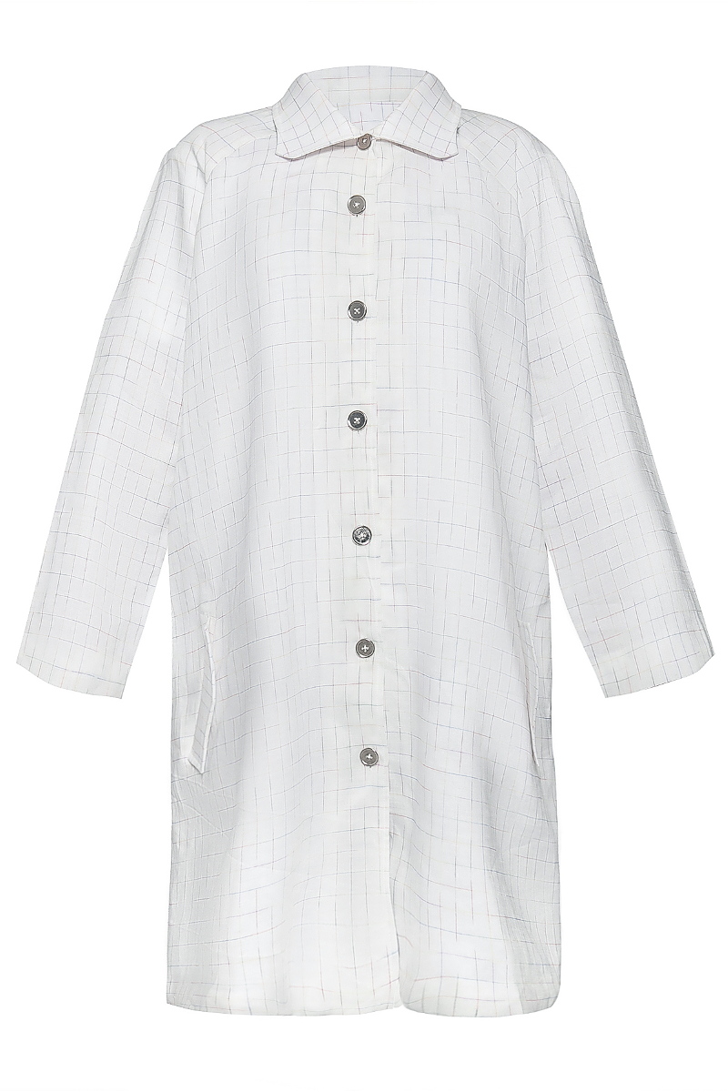 Raglan Sleeve Light Coat in Rainbow Checkered Linen