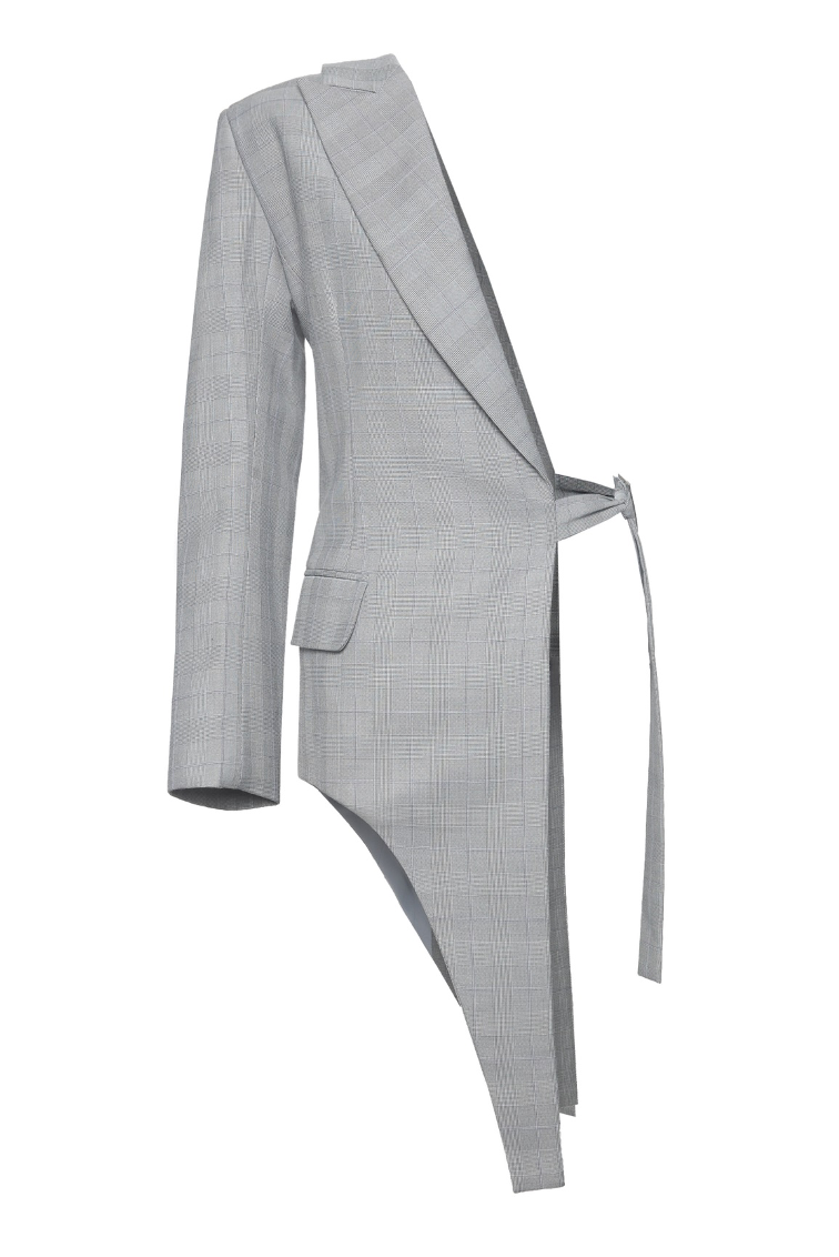 One Sided Double-Tail Jacket in Checkered Wool