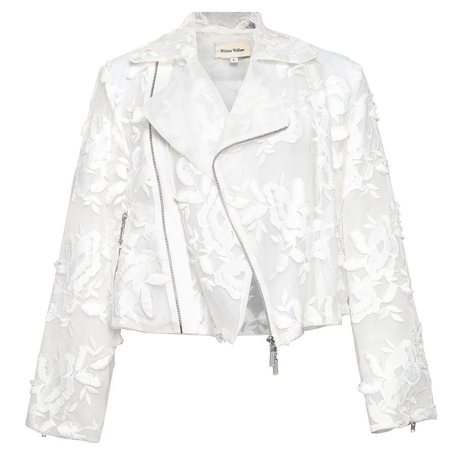 Oversized Lace Floral Organdy Biker Inspired Jacket