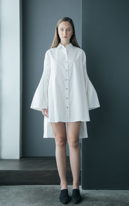 Ruffled Back Honeycomb Sleeve Cotton Shirtdress