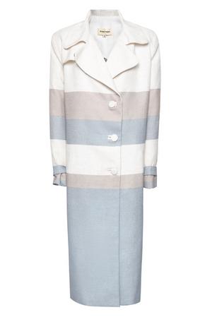 Backless Coat in Striped Coarse Linen