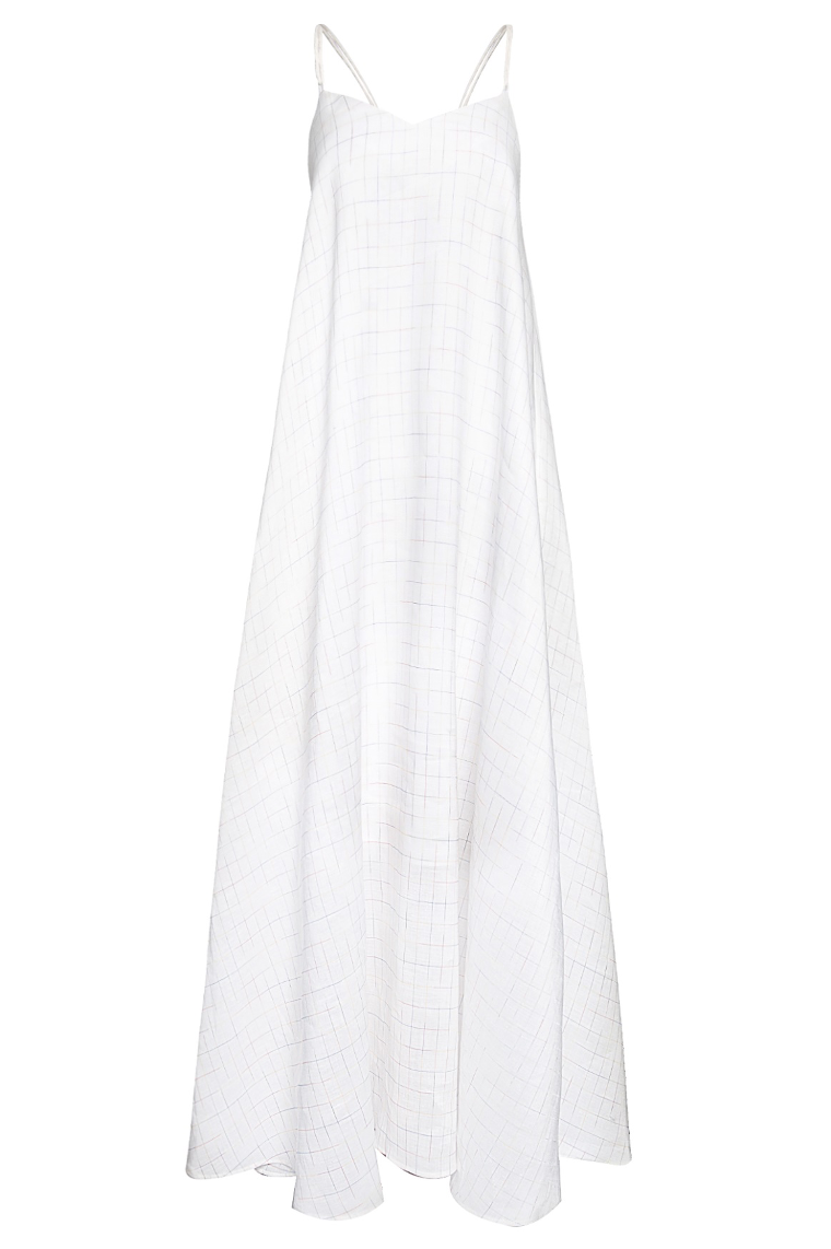 Strap Long Dress with Pockets in Rainbow Checkered Linen