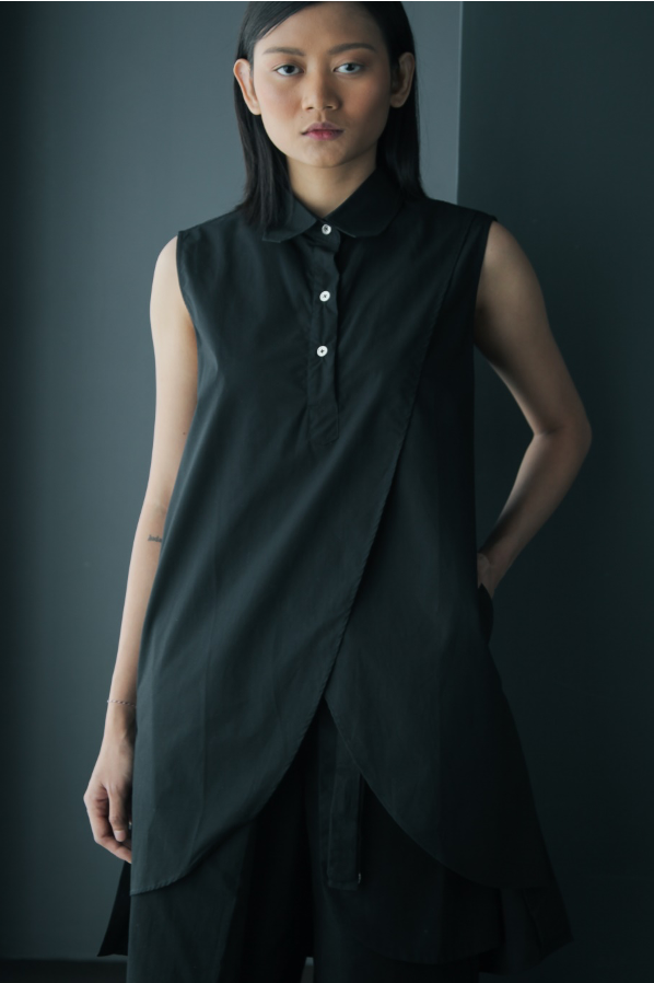 Sleeveless Overlap Front Cotton Tunic in Black