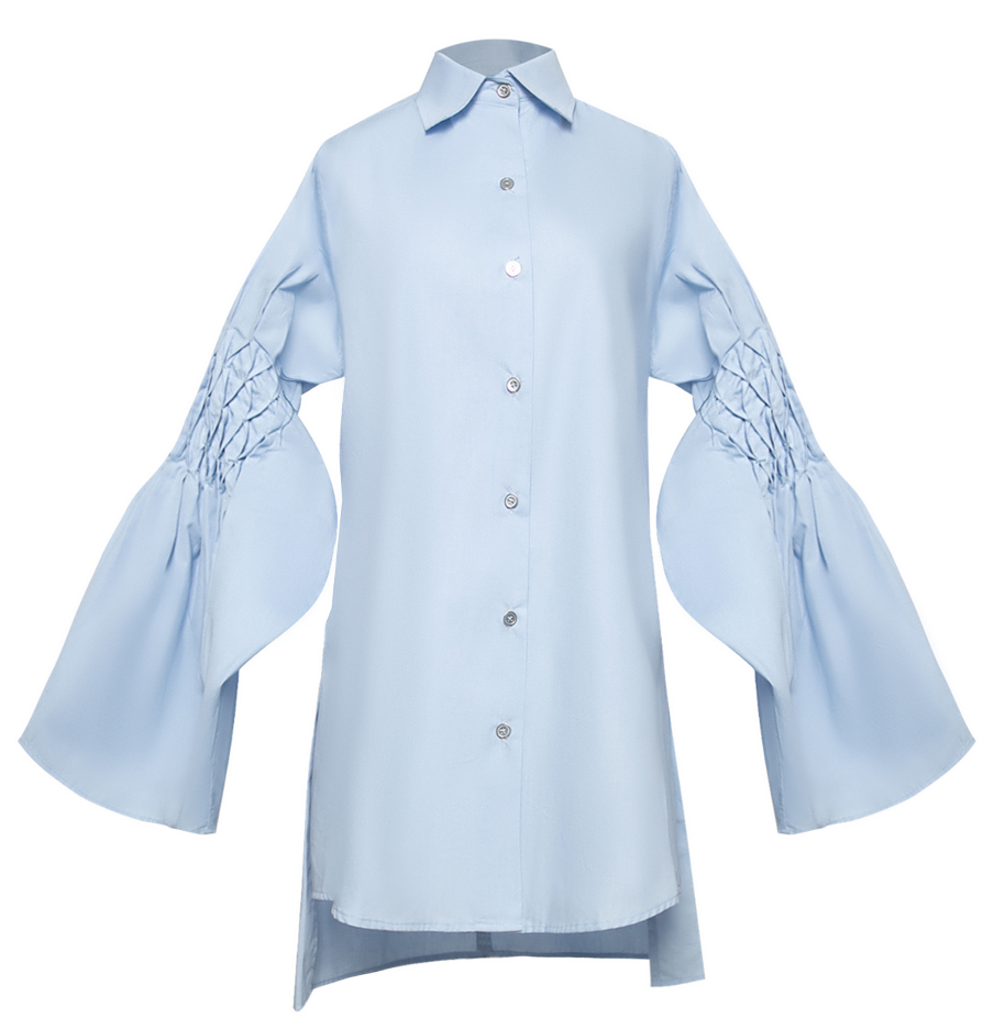 Honeycomb Bell Sleeve Cotton Shirt with Sailboat Origami back