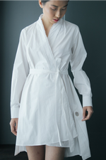 Frayed Edges Kimono Cotton Shirtdress in White