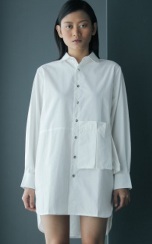 Side Origami Long Cotton Shirt in White
