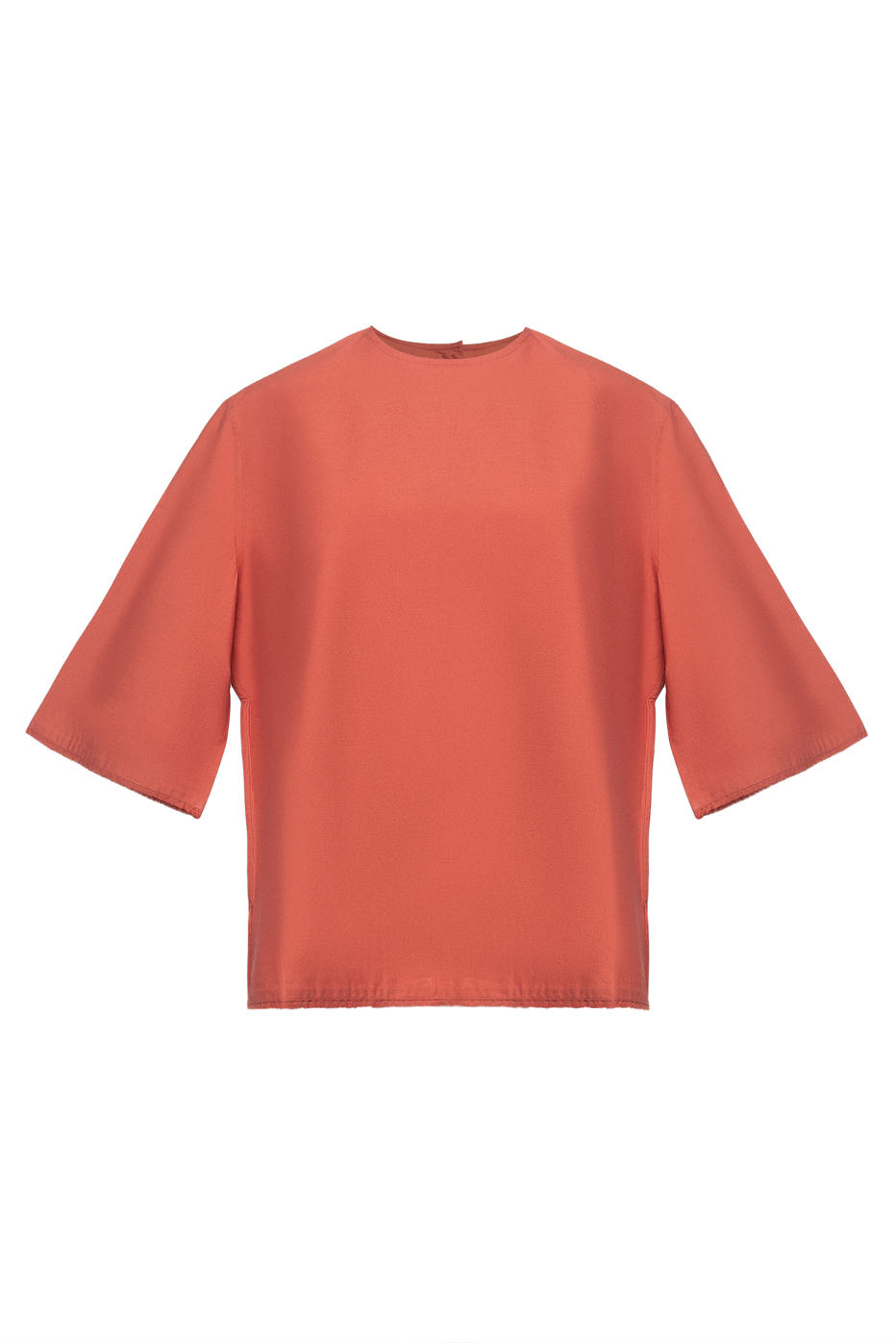 Frayed Edges Cotton Crew Neck Shirt