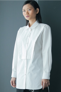 Mini Ruffles Front Panel Cotton Shirt in White