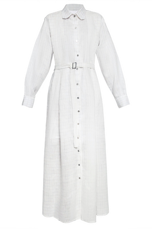 Long Trench Shirtdress in Rainbow Checkered Linen