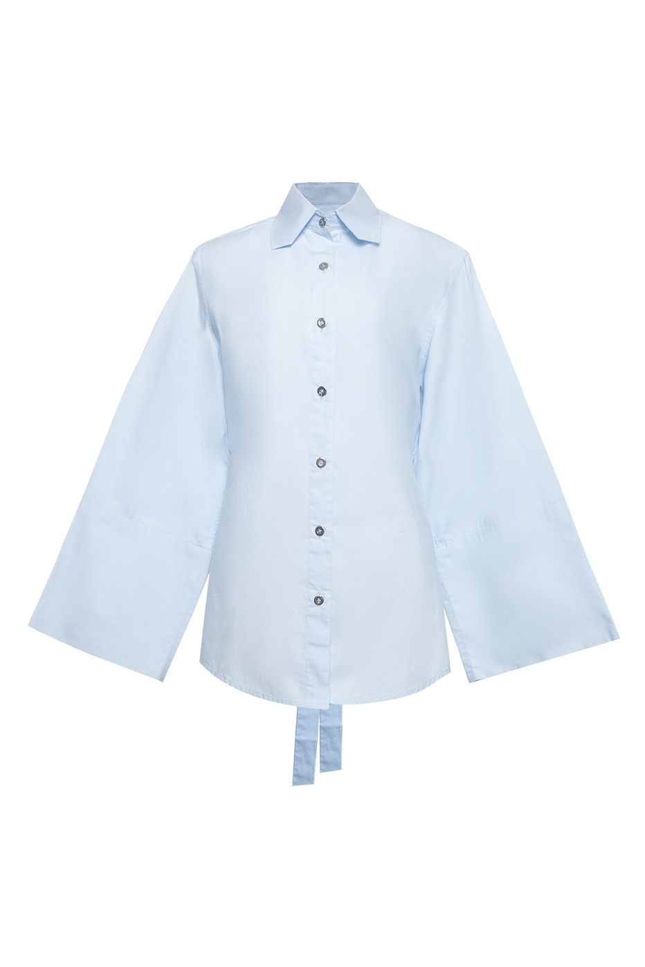 Backless Cotton Shirt with Tie Fastener