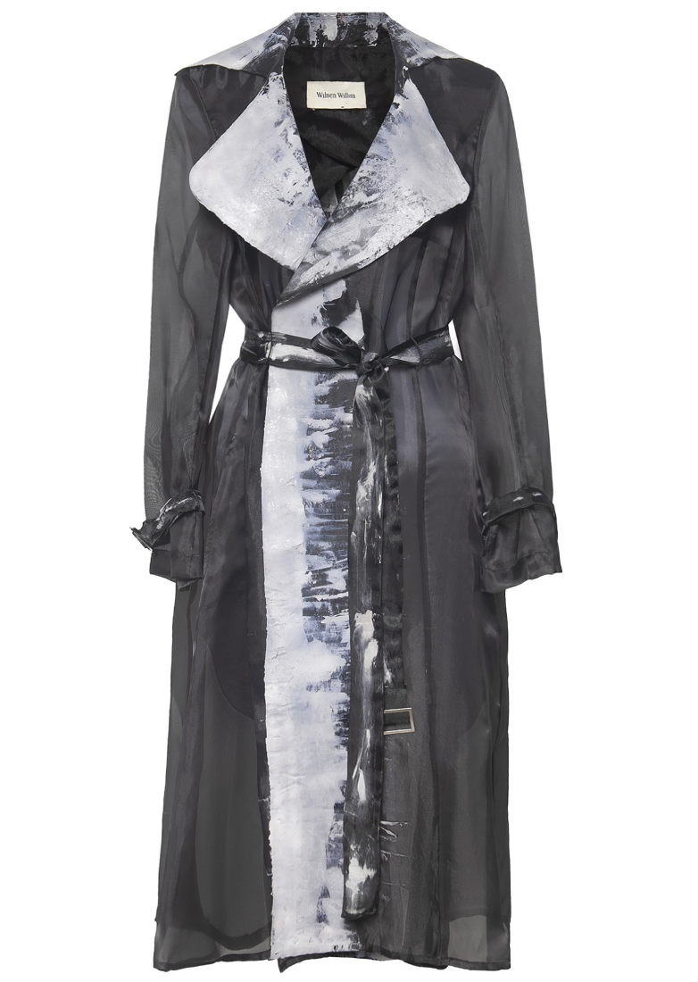 Hand- Painted Organdy Nipped Waist Trench Coat