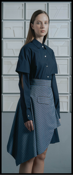 Single Pocket Asymmetrical Wrap Skirt