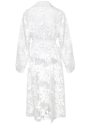 Lace Floral Organdy Nipped Waist Trench Coat
