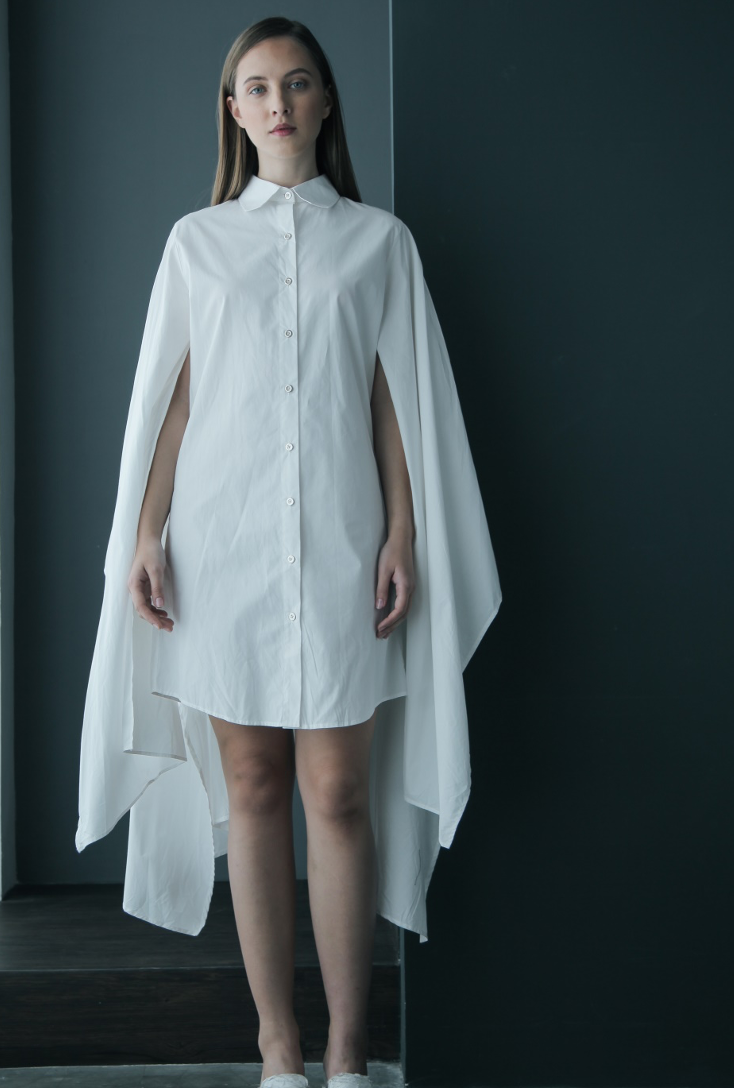 Cape Kimono Cotton Shirtdress