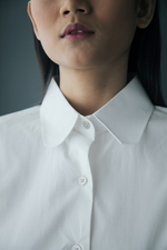 Classic Cotton Shirt with Organdy Back Panel in White