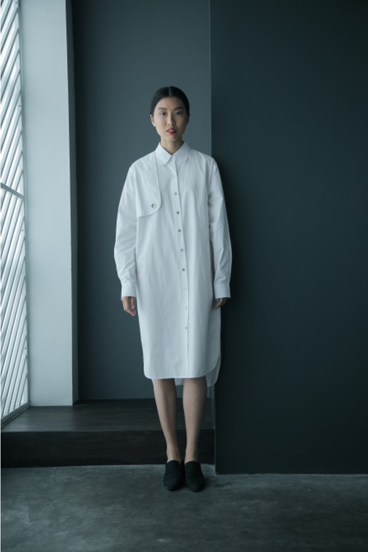 Right Front Panel Cotton Shirtdress in White